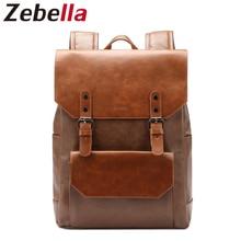 Zebella Large Capacity Men's PU Leather Backpack Male Laptop Backpacks Daypack School Bags For Teenagers mochilas femininas