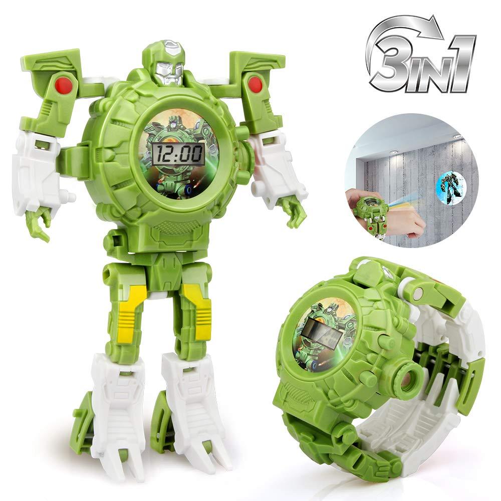 Трансформеры игрушки робот часы 3в1 проекция дети цифровые наручные часы деформация спасательный Робот Игрушки электронное обучение подар...