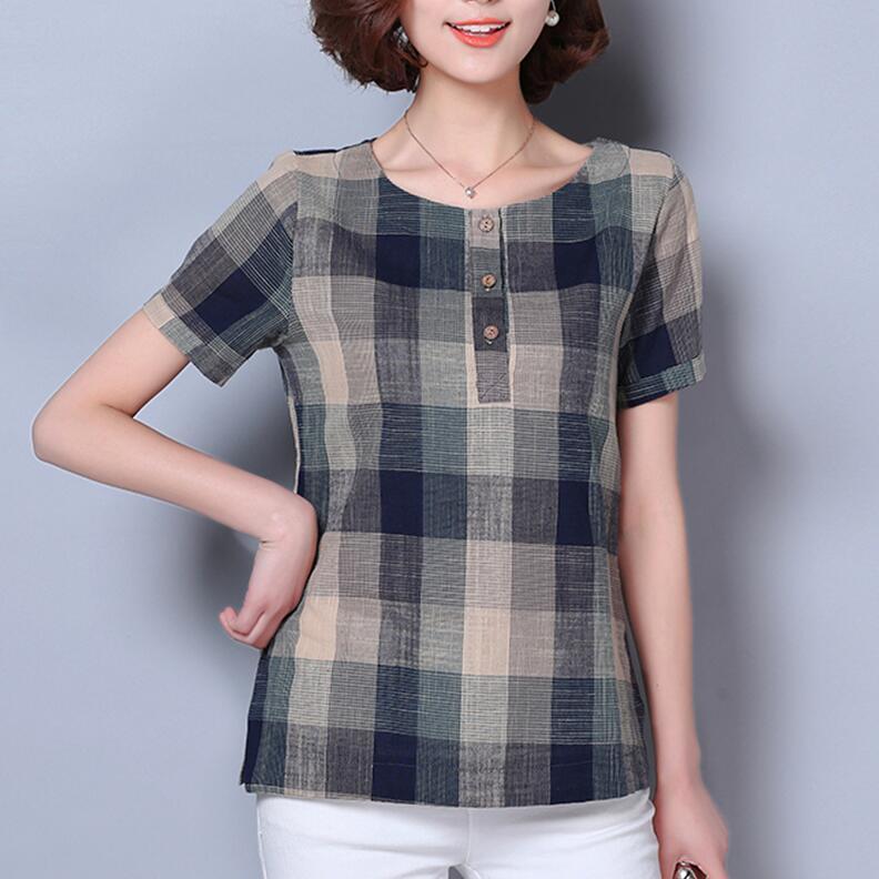 Verão mulheres tops Mulheres de linho de algodão do vintage blusa camisa Xadrez de mangas Curtas blusas mujer feminino roupas