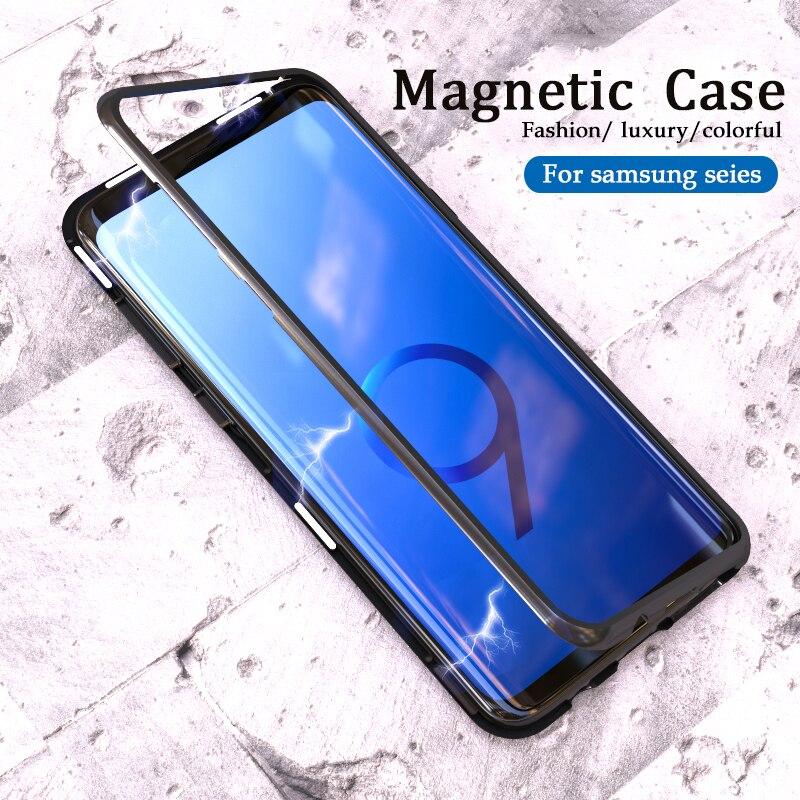 360 Funda magnética en el para samsung Galaxy s10 s9 s8 más s10E carcasa trasera de vidrio imán adsorción sansun s 8 9 10 e Flip coque
