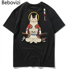 Bebovizi marque 2020 Streetwear japon Style Ukiyo E drôle samouraï chat T-shirts hommes manches courtes T-shirts Hip Hop broderie T-shirts