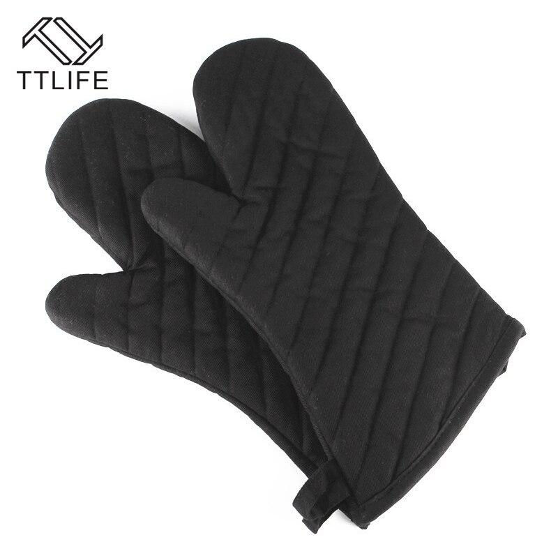 Перчатки для духовки TTLIFE, 1 шт., перчатки из полиэстера и хлопка для духовки, черные плотные кухонные перчатки из Твила, термостойкие перчатки для барбекю, кухонные гаджеты