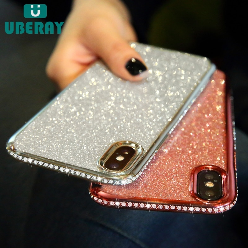 Strass glitter caso para iphone xs max xr 10x7 8 plus 6s silicone macio tpu diamante sexy menina protetor de volta capa