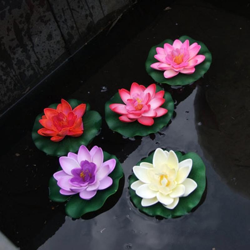 1pcs artificial outdoor pool pond floating lotus aquarium fish pond fake flower decor water grass decor garden decor