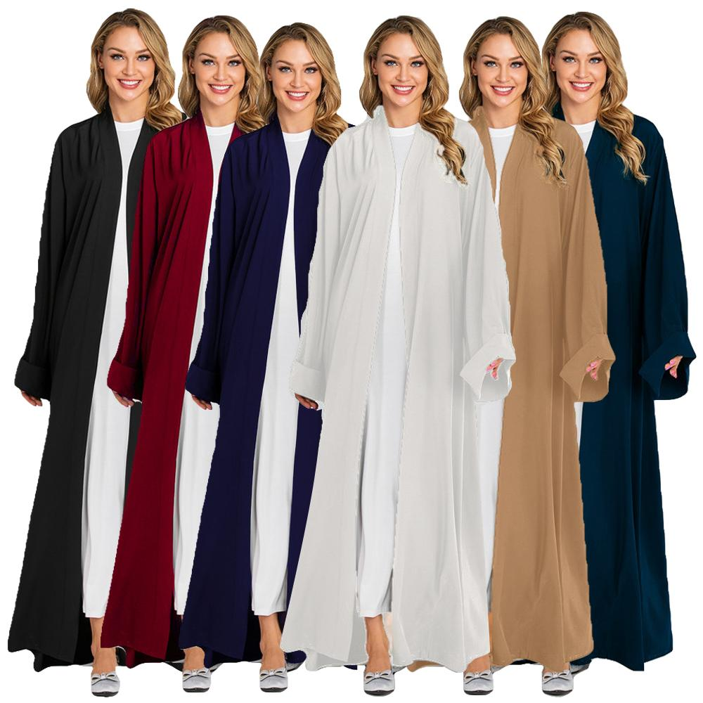 Moda Dubai Kimono Mulheres Da Frente Aberta Longo Vestido Maxi Árabe Jilbab Abaya Muçulmano Kaftan Caftan Vestuário Islâmico Cardigan Robe Vestido