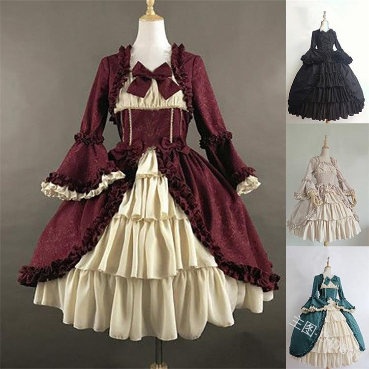 Mujeres niñas Otoño Invierno rococó Marie vestido de Antonieta Medieval gótico Retro Floral estampado Victrian Ball dresses ropa de teatro