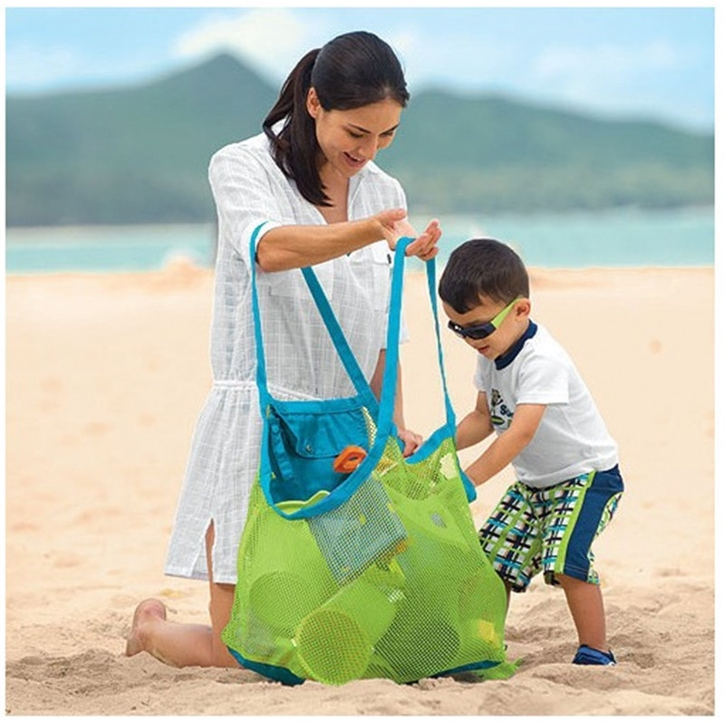 1Pcs Beach Bag Mesh Stay Away From Sand Durable Indoor Outdoor Portable Hand Bag Swimming Sport Toys