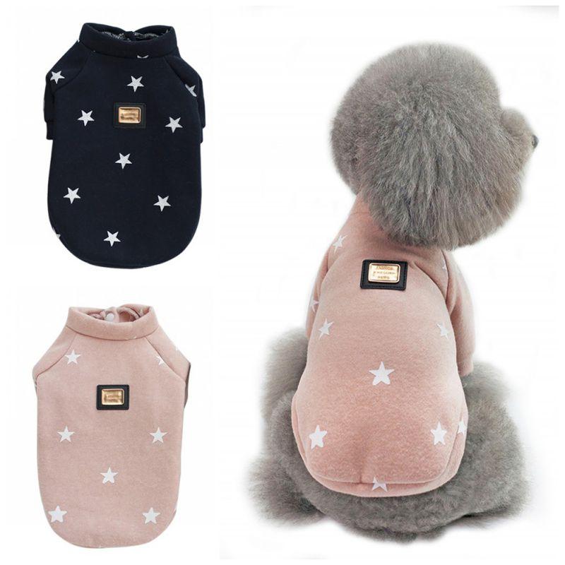 Pet Dogs Cats Warm Hoodies Puppy Clothes Cute Autumn Winter Dog Accessories Coats Jackets Cloth Pentagram Five Stars Pattern
