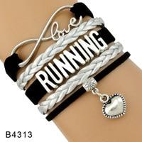 Running Shoe Sneakers Training Marathon Triathlon Track and Field Charm Leather Bracelets for Women