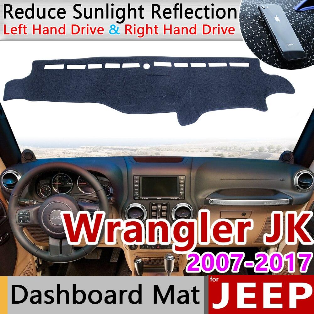 Para Jeep Wrangler JK 2007 ~ 2017 Anti-Slip Mat panel de cubierta almohadilla sombrilla salpicadero 2008 accesorios 2009, 2010 2012, 2013, 2015, 2016