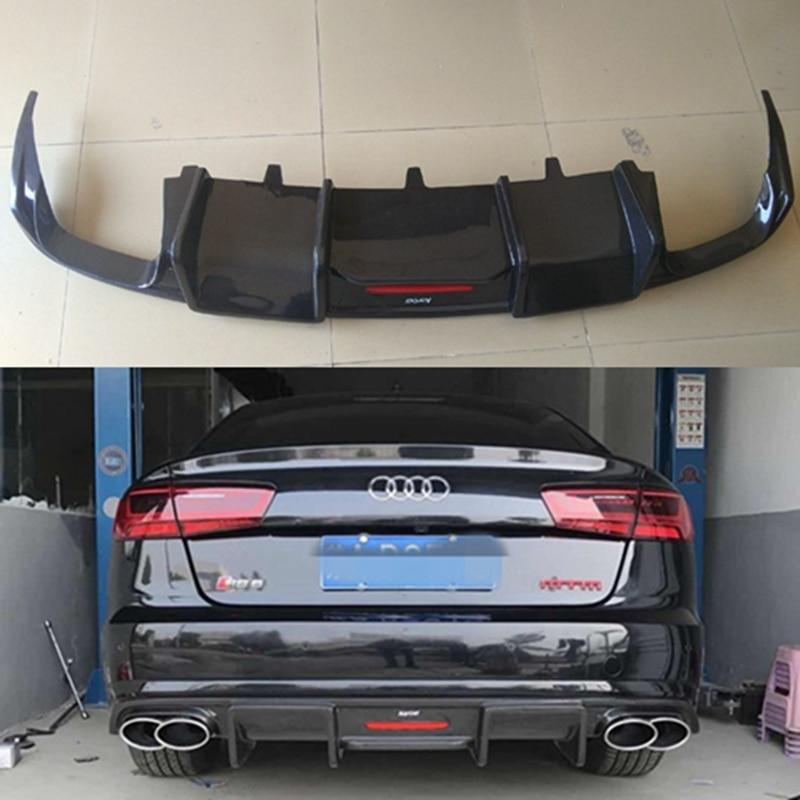 A6 C7 S6 de fibra de carbono para difusor de parachoques trasero labio trasero para Audi A6 S6 coche kit de cuerpo 12-16
