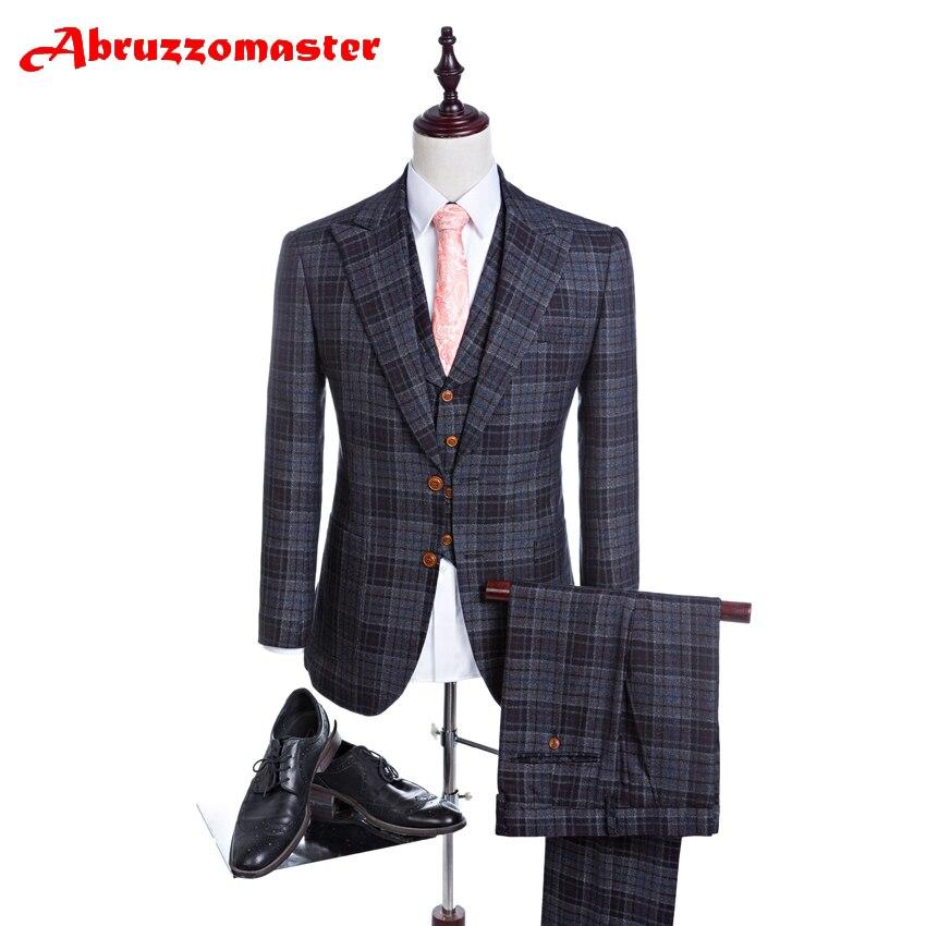 Abruzzomaster Gery Check Man Suits Pesked Revers Jas Voor Wedding Suits Plaid Pak Tailor Pak Bruidegom Smoking Jacket + Broek + Vest
