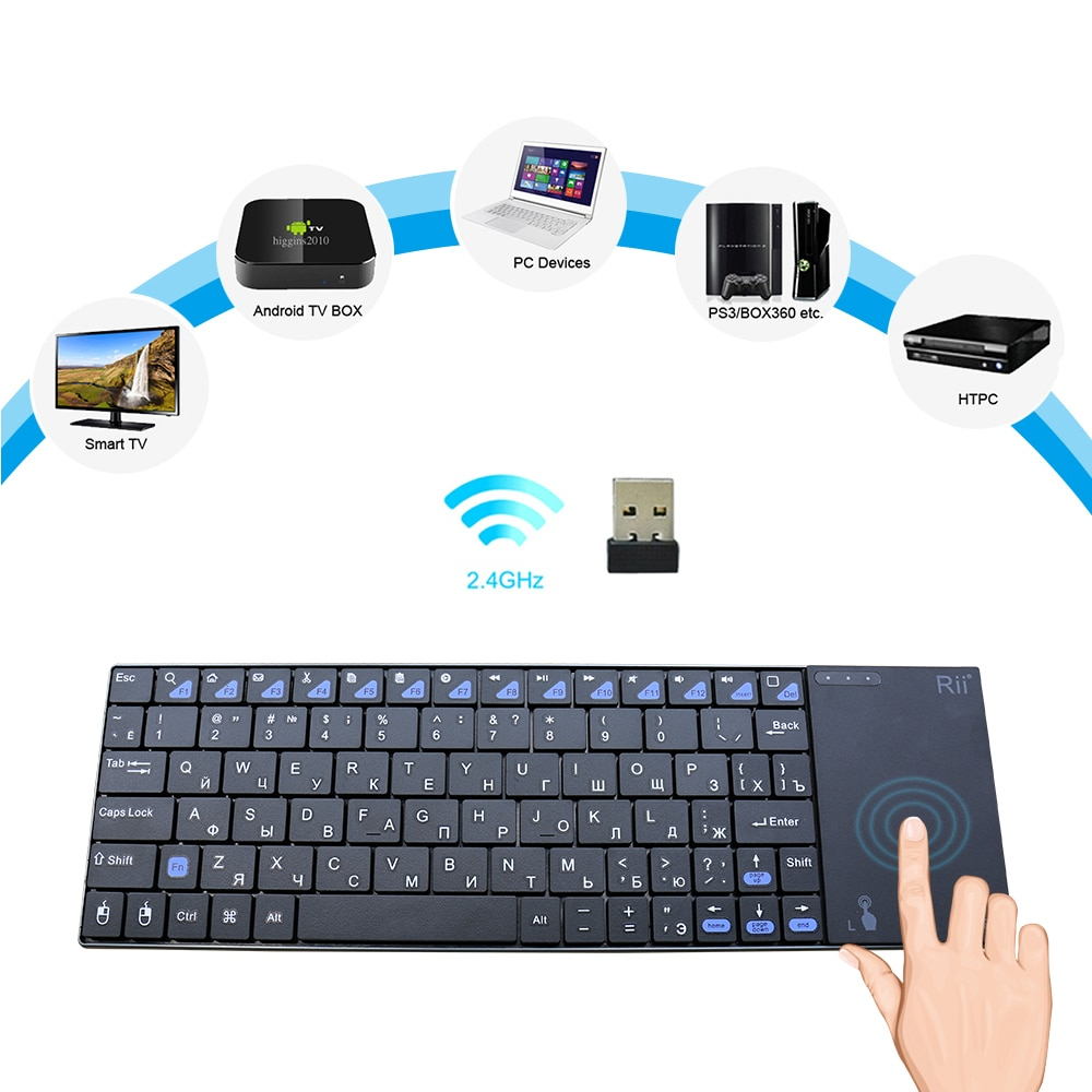Genuine Rii mini i12plus 2,4G Wireless Russische Tastatur Ultra Dünne QWERTY mit Touchpad Für PC IPTV Sony PS3 HTPC android TV BOX