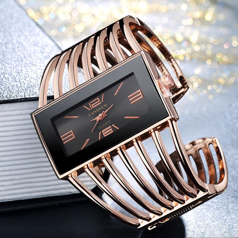 Women Watch Luxury Fashion Rose Gold Bangle Bracelet Relojes Womens Dress Watches Clock Rectangle Dial Female Girls Wristwatch