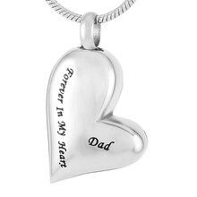 IJD8032 gravé papa pour toujours dans mon coeur crémation collier urne en acier inoxydable mémorial urne pendentif bijoux