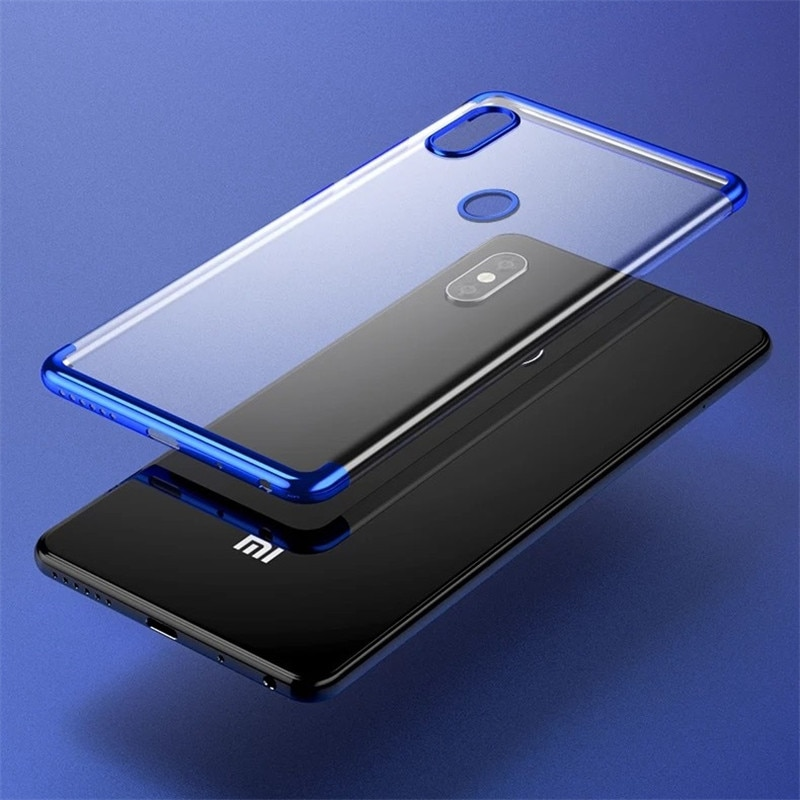 ZEALLION For Xiaomi Mi8 8se Mix 2s Luxury Plating Transparent Case Silicone Clear TPU Soft Back Cove