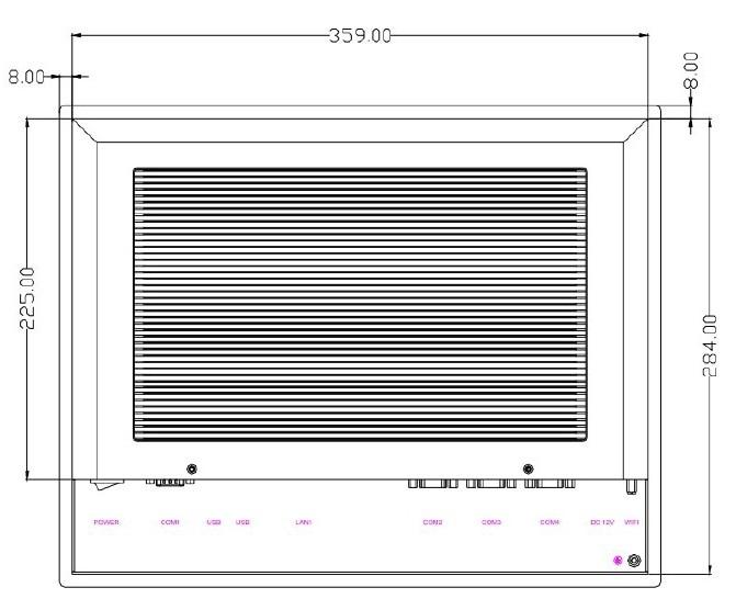 Sunlight Readable Fanless Industrial Panel PC, 15 inch LCD, Core i5-4200U CPU, 4GB RAM/500GB HDD,2COM/4USB