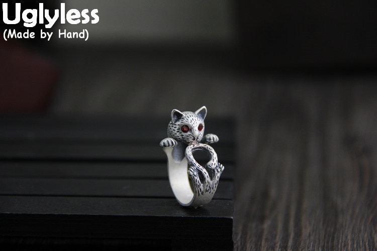 Anillos de plata de ley 925 de Uglyless Real hechos a mano con forma de gato, anillo abierto de Animal encantador, cristales rojos, joyería personalizada