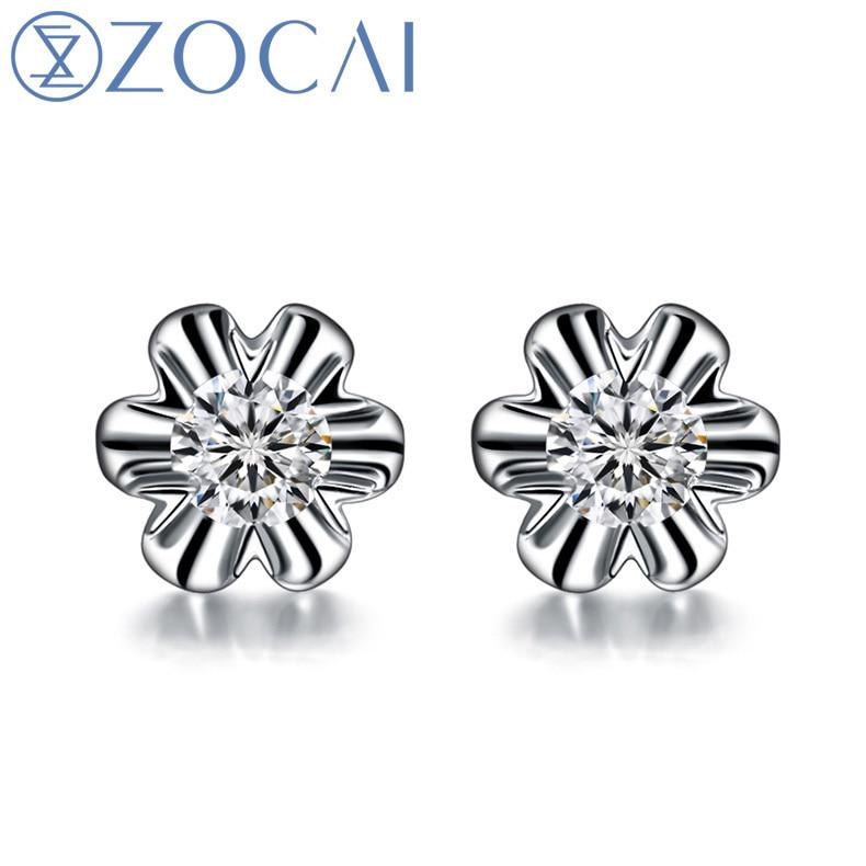 ZOCAI NATURAL 0,22 CT certificado Diamante flor LOTUS pendientes joyería pendientes redondo corte 18 K oro blanco E00051