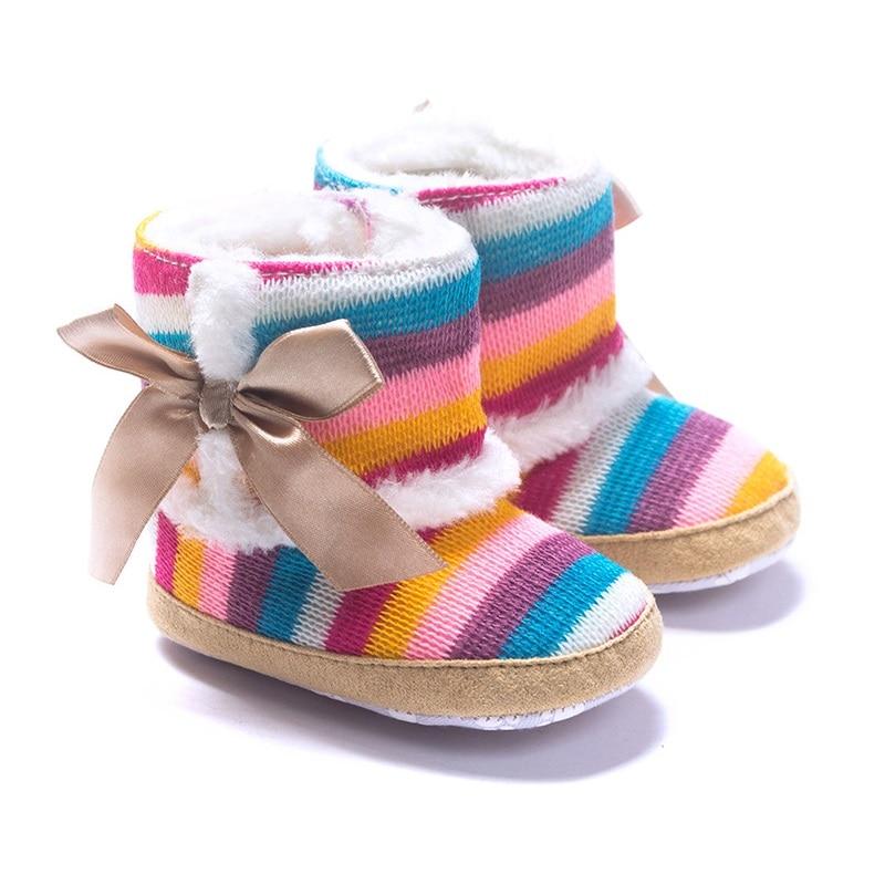 Baby Girl Boots Shoe Wool Winter Bebe Shoes Coral Fleece Baby First Walker Anti-Slip Rainbow 11-13CM Children Moccasin