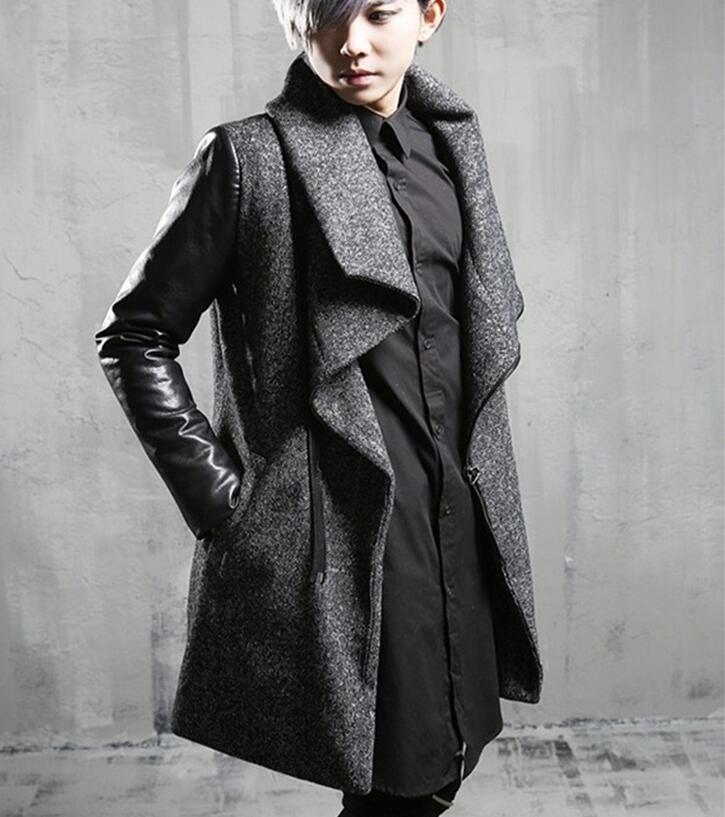 Мужское длинное пальто с отворотами, утолщенное длинное пальто, M--XL, зима 2019