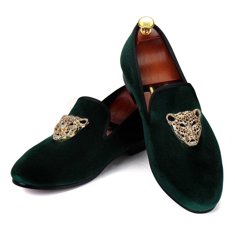 Harpelunde-حذاء موكاسين مخملي أخضر للرجال ، حذاء زفاف ، صناعة يدوية ، بإبزيم على شكل حيوان ، مقاس 6-14