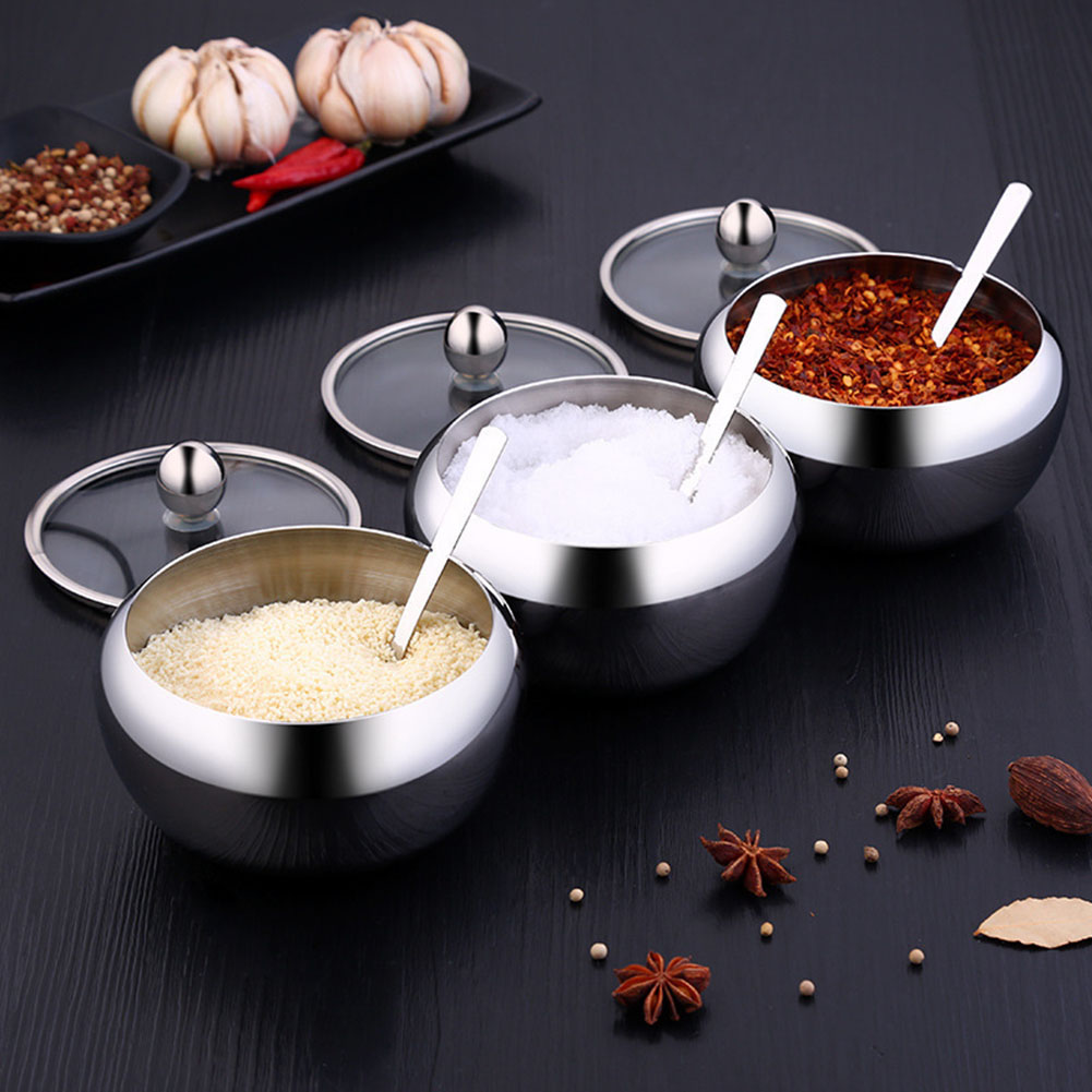 Stainless Steel Apple Sugar Salt Bowl Kitchen Supplies Seasoning Jar Condiment Pot Spice Container With Lid Spoon Storage Bottle