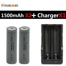 2018 Brand New 2 Pcs KingWei 18650 Cinza 1500 mAh 3.7 v Recarregável Li-ion Battery Com Carregador de Baterias de Casal