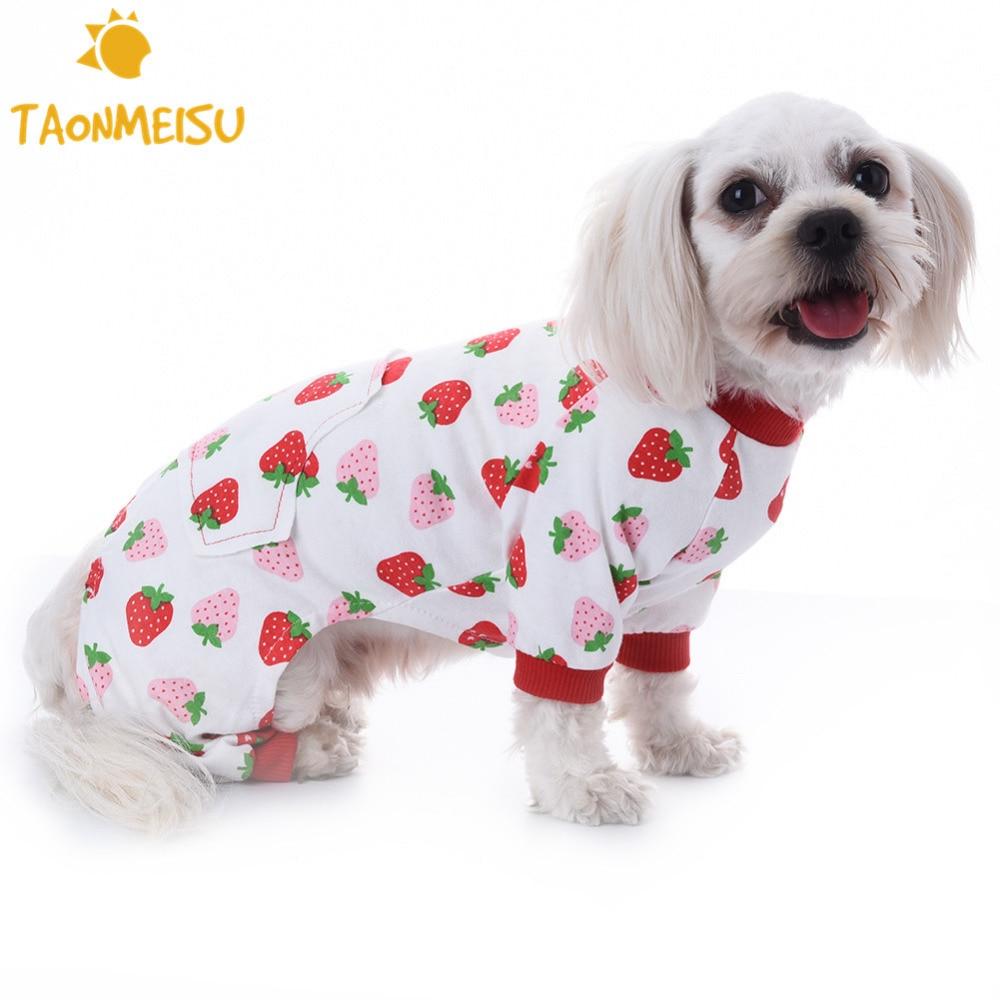 Pijama de algodón con diseño de fresa para perros y gatos, nuevo mono duradero para mascotas