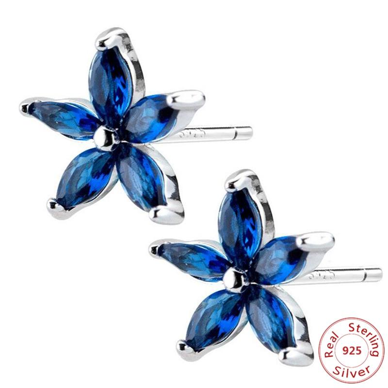 Joyería de plata de ley 100% para mujer, pendientes de tuerca cuadrados con flores asimétricas azules a la moda para niñas e hijas