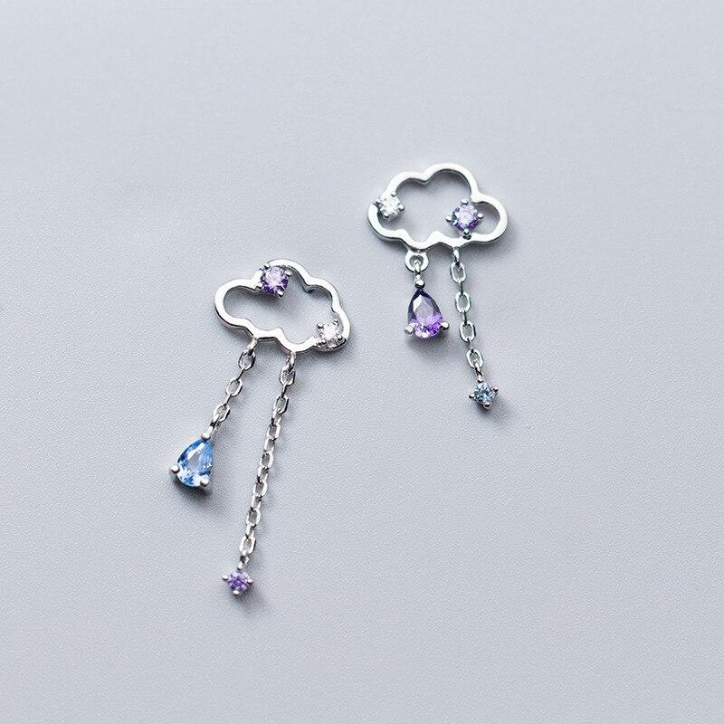 Mloveacc real 925 prata esterlina artesanal jóias finas étnica nuvem com gota de chuva borla balançar brincos para mulher brincos