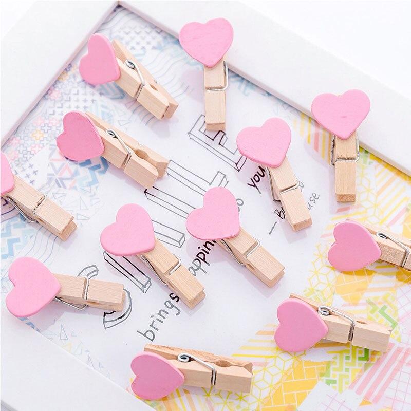 10 Uds Rosa corazón encantador clip para papel de madera marcador para el álbum con la cuerda de la Oficina de la Escuela de