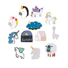 Fashion Alpaca Horse House Sheep Enamel Pin Cartoon Animals Brooch Women Jackets Backpack Hat Collar Pins Badges Jewelry Gift