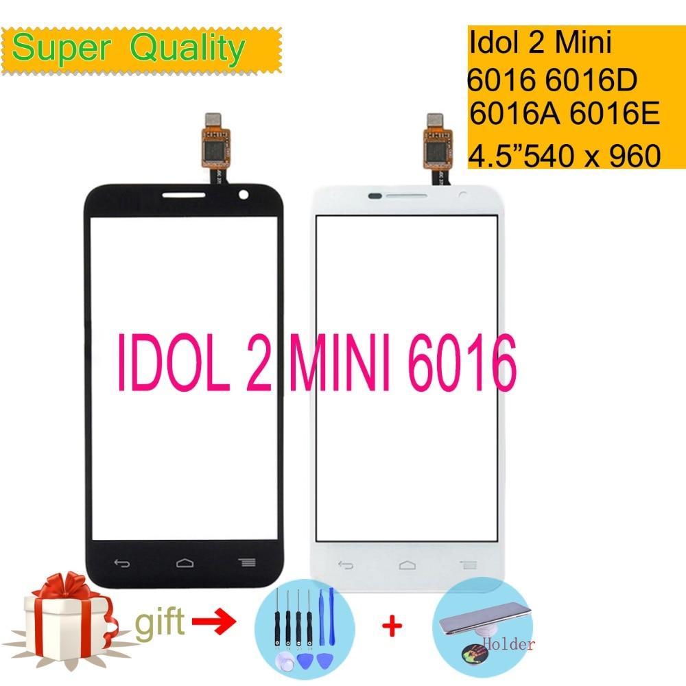 2 Touchscreen 4.5 Para Alcatel One Touch Idol mini 6016 6016D 6016A 6016E 6016X OT6016 Digitador Do Painel de Vidro Da Tela De Toque lente