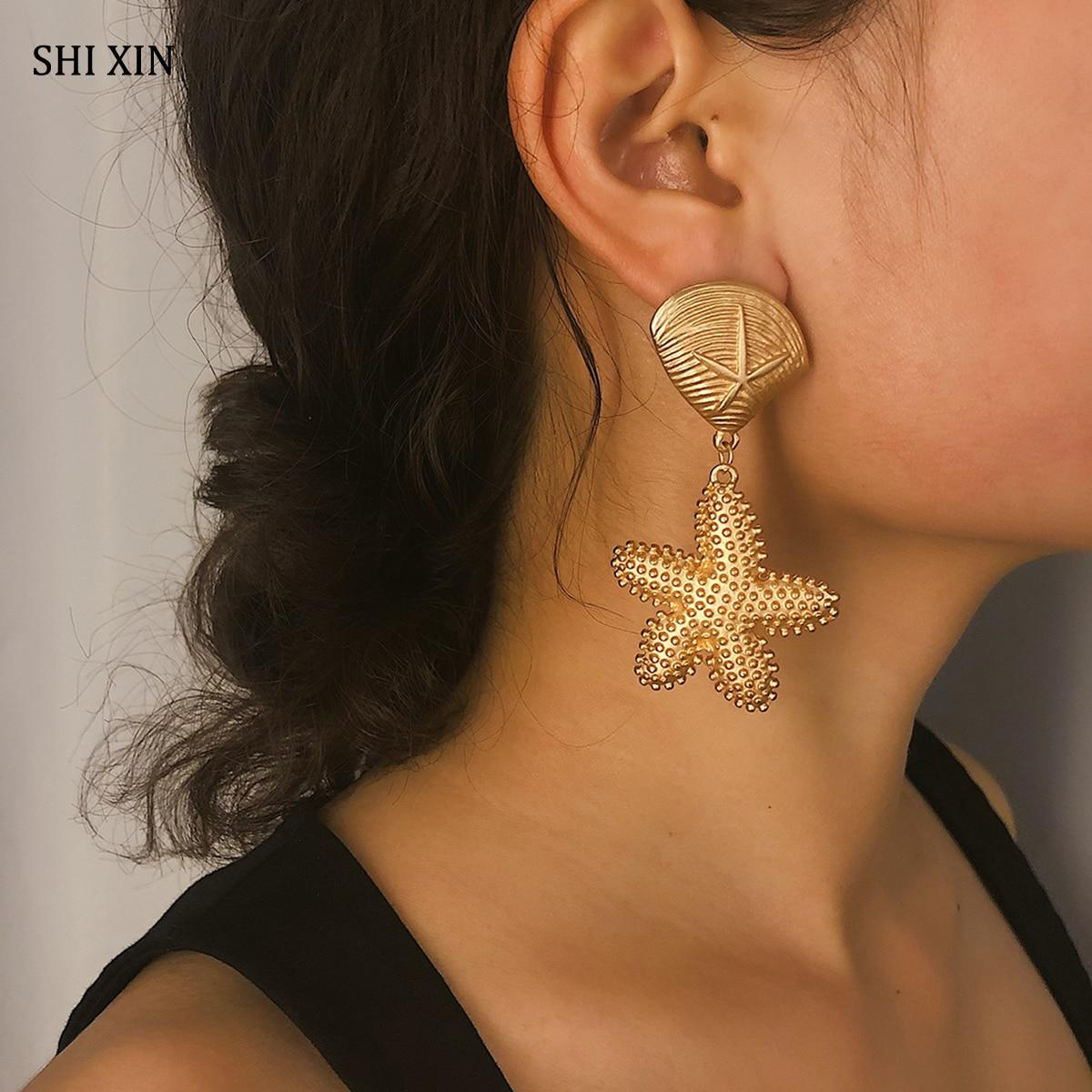 SHIXIN 2019 Koreanische Mode Gold Farbe Starfish Ohrringe Erklärung Sea Star Shell Ohrringe für Frauen Sommer Ohrringe Schmuck