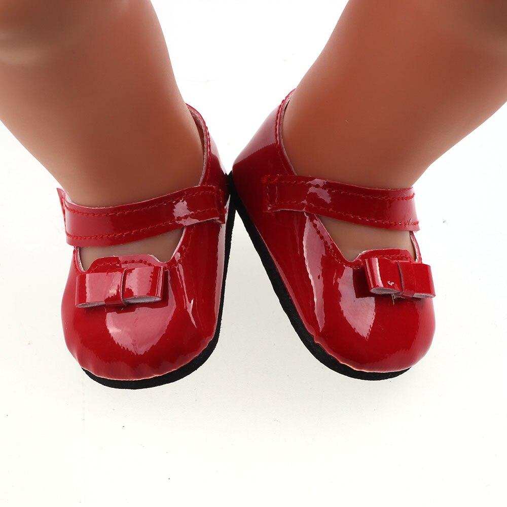 Nova moda vermelho cor sólida couro brilhante sapatos vestir apto 43cm -, crianças melhor presente de aniversário b680