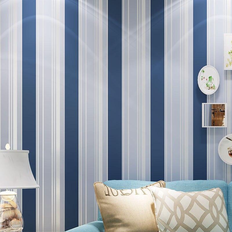 البحر الأبيض المتوسط غير المنسوجة العمودي مخطط خلفيات لغرفة المعيشة غرفة نوم الاطفال الأولاد ديكورات للحائط خلفية أزرق أسود وردي