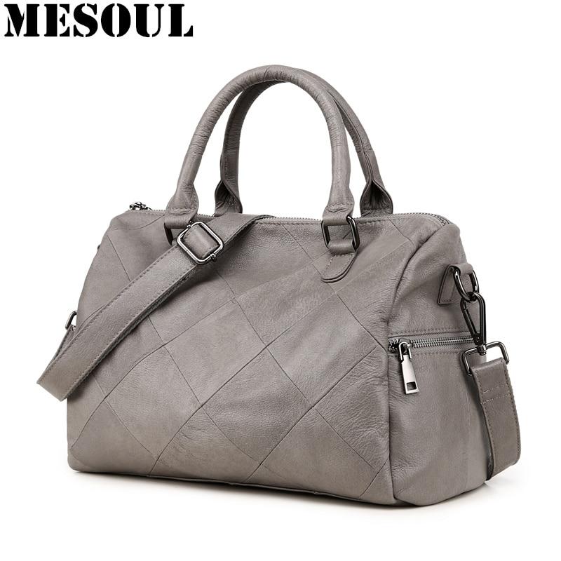 Ladies Handbag Boston Casual Tote Women's Shoulder Bags Soft Genuine Leather Crossbody Messenger Bag for Women 2018 Sac a Main