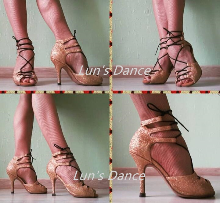 Sexy oro Latina Salsa baile Salsa Tango Bachata Mambo zapatos de baile de Salsa boda tacones altos baile Color personalizado DS502