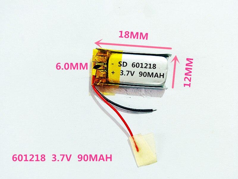 601218 3,7 V 90MAH Длина 18 Ширина 12 Толстая 6/Bluetooth гарнитура игрушки MP4 литий-полимерный аккумулятор