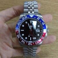 Parnis 40mm כחול אדום הלוח הקדמי מכאני אוטומטי גברים של שעונים GMT ספיר קריסטל איש Diver שעון גברים שעון למעלה יוקרה מותג