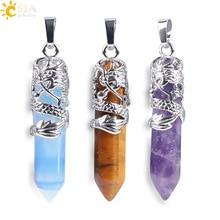 CSJA mythe Dragon enveloppé haut colliers pendentifs pierre gemme naturelle Agates amoureux cadeau bijoux bricolage Suspension breloques amulette E854