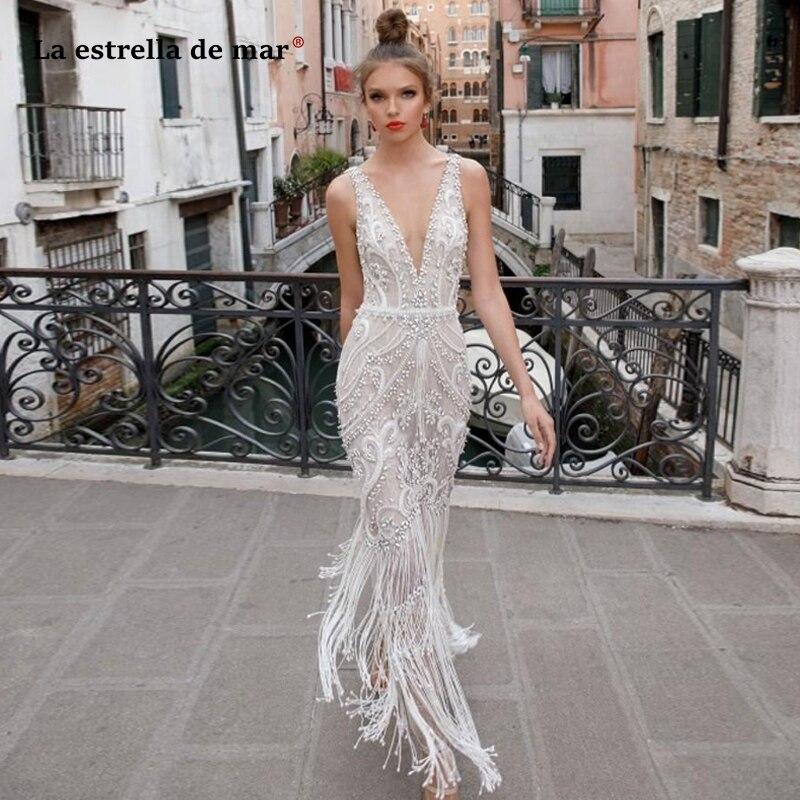 vestidos de novia corte sirena 2020 new sexy V-neck crystal fringe luxury wedding dress long amanda novias bruidsjurken suknia s