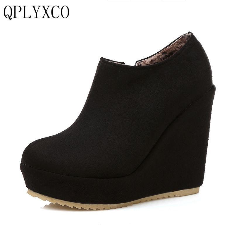 QPLYXCO, novedad, primavera Otoño Invierno, tallas grandes, 32-43, botines para mujer, botas cortas, cuñas, zapatos de señora de 12cm C212