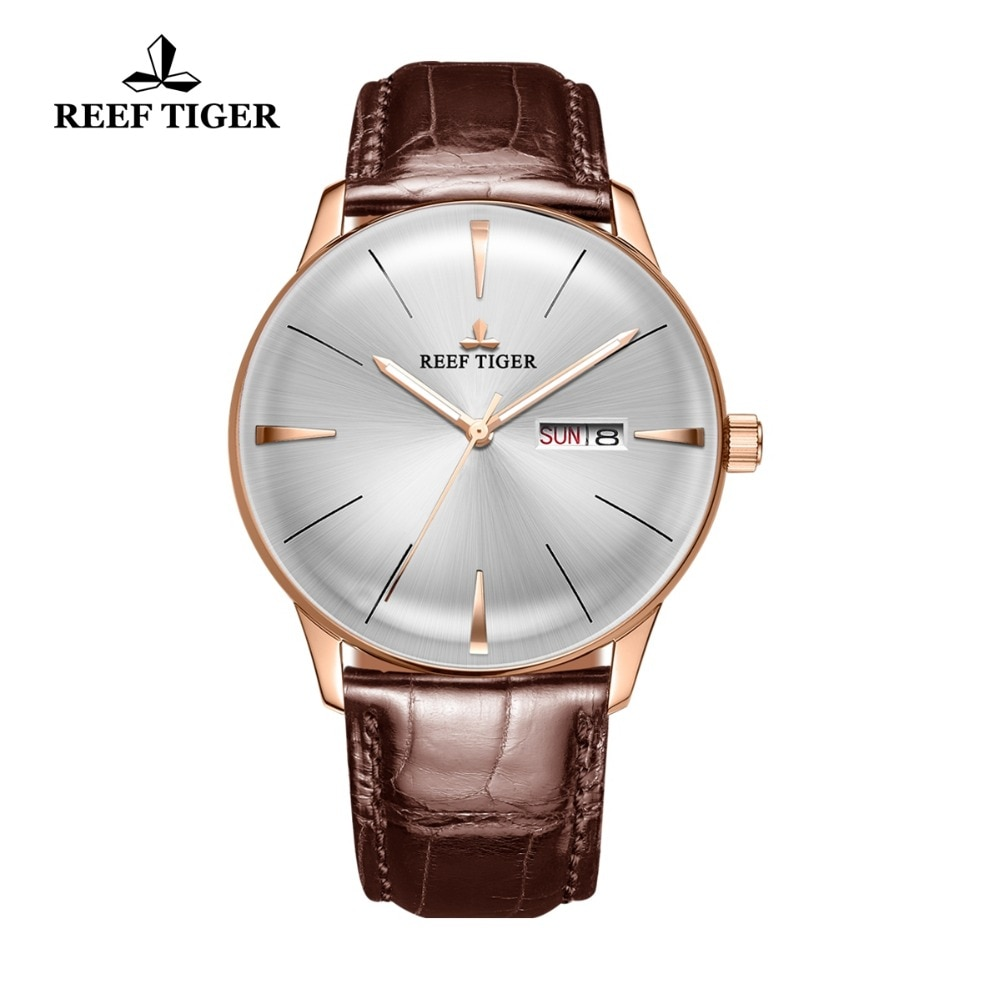 AliExpress - Reef Tiger/RT Simple Dress Watches for Men Rose Gold Leather Strap Automatic Watches Luxury Brand Watch reloj RGA8238