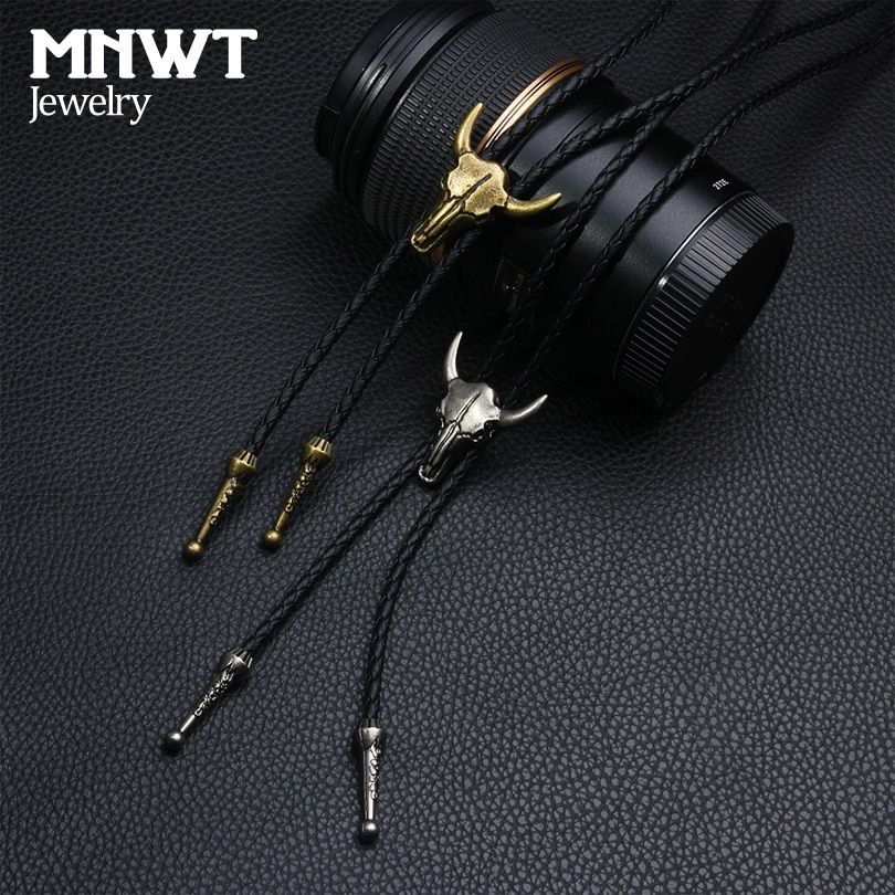 MNWT мужской регулируемый кожаный галстук, веревка с черепами
