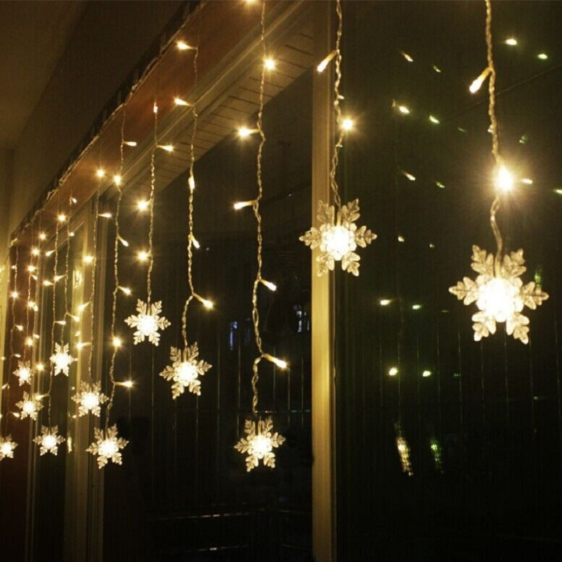 Cadena de cortina LED con forma de nieve de 3,5 M, 96 Leds, 16 líneas, carámbano de iluminación de hadas para bodas, Navidad, decoración de ventanas, EU o US