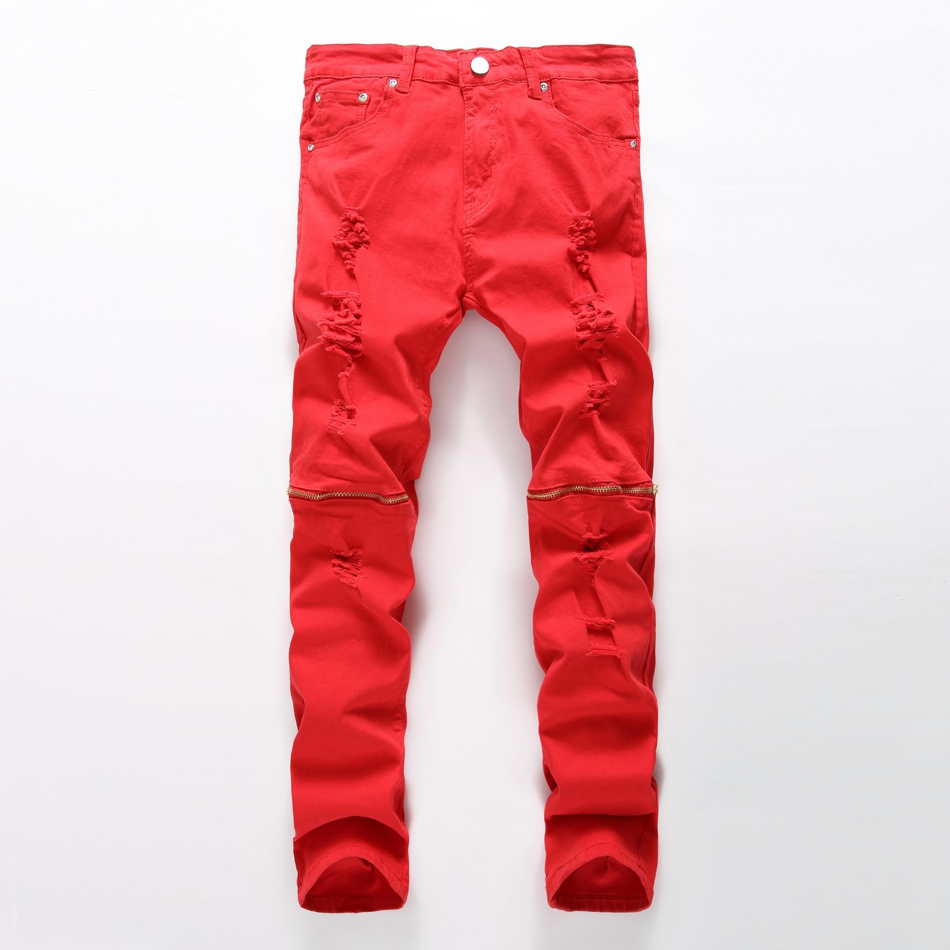 Red zipper decoration Skinny jeans men Ripped jeans Fashion Casual Slim fit Biker jeans Hip hop Denim elastic cotton trousers