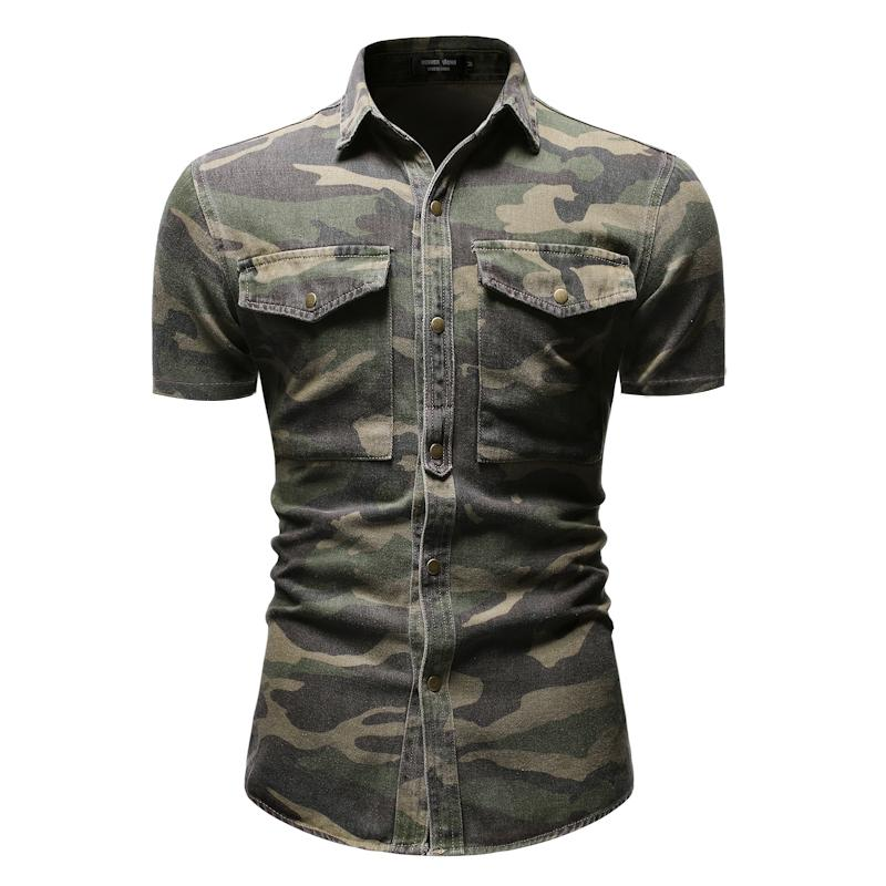 Мужская джинсовая рубашка с коротким рукавом, Повседневная джинсовая рубашка с камуфляжным принтом, летняя рубашка для мужчин