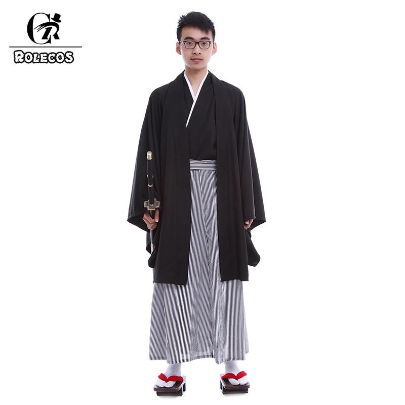 ROLECOS, Kimonos holgados tradicionales japoneses para hombres con cinturón OBI fácil, trajes Yukata, trajes para hombre, Kimono negro japonés